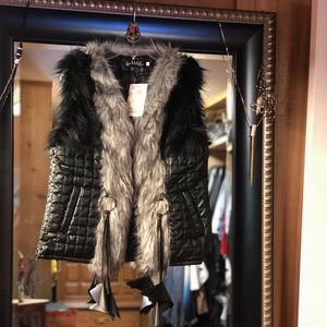 Jackets & Blazers - Faux Leather and Fur Vest